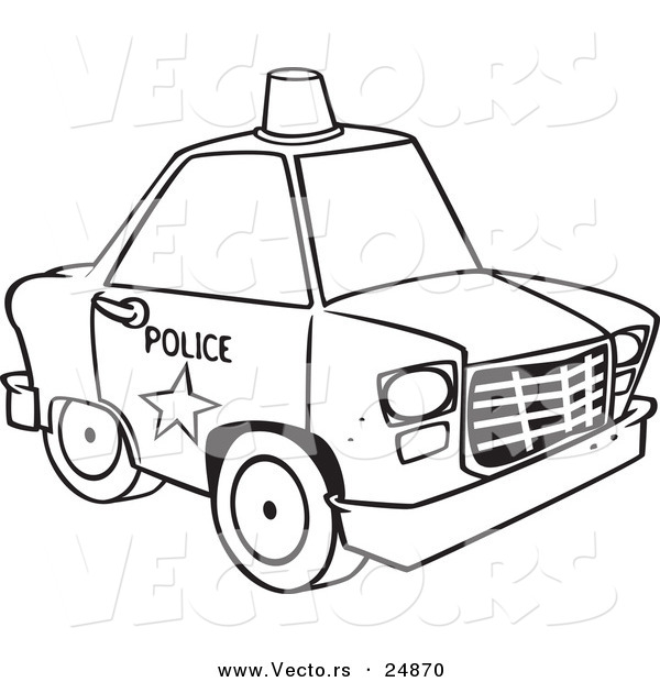 Vector of a Cartoon Police Car with a Siren Cone on the Roof - Outlined Coloring Page