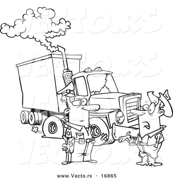 Vector of a Cartoon Police Man Assisting a Trucker with a Broken down Rig - Coloring Page Outline