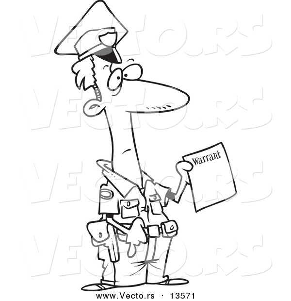 Vector of a Cartoon Police Officer Holding a Warrant - Coloring Page Outline