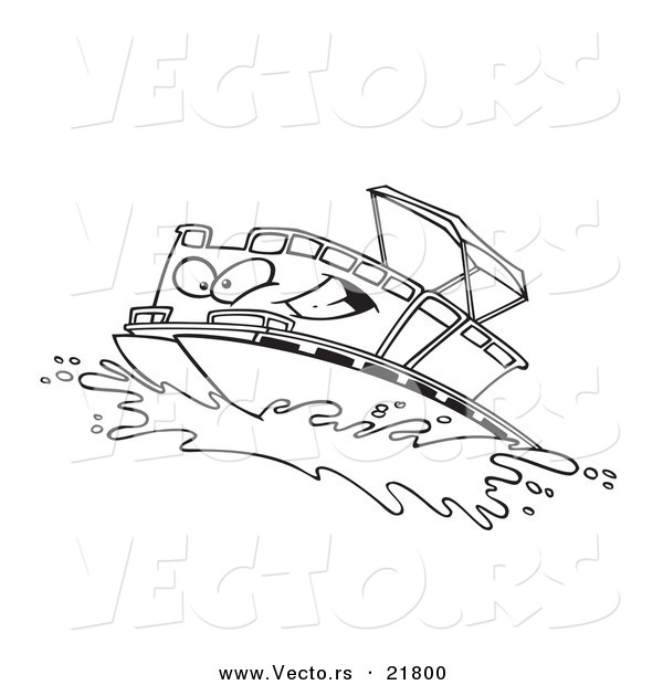 Vector Of A Cartoon Pontoon Boat Character