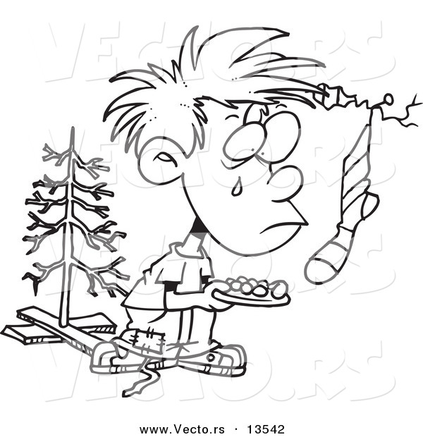 Vector of a Cartoon Poor Christmas Boy Wanting More - Coloring Page Outline