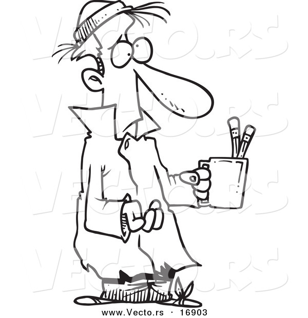 Vector of a Cartoon Poor Man Begging with a Pencil Cup - Coloring Page Outline