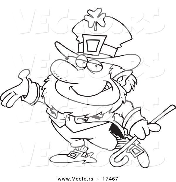 Vector of a Cartoon Presenting Leprechaun - Coloring Page Outline