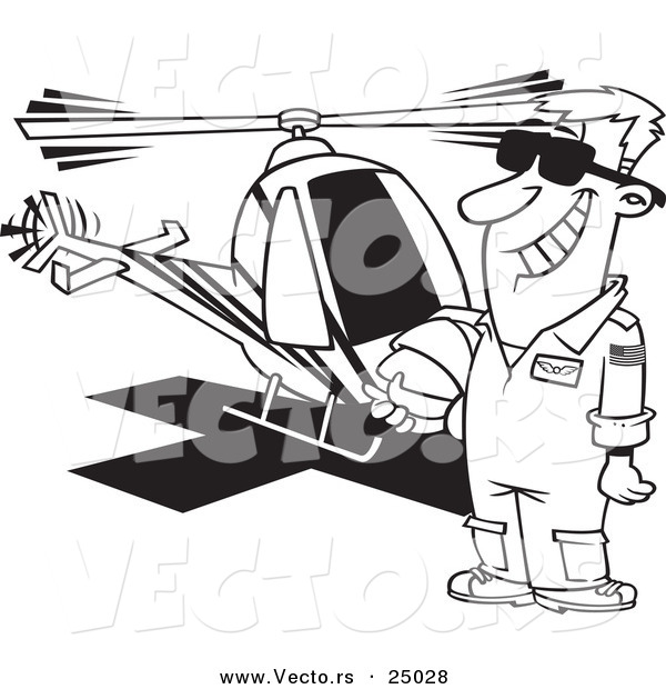 : Vector of a Cartoon Proud Helicopter Pilot Man Standing by His Chopper - Outlined Coloring Page