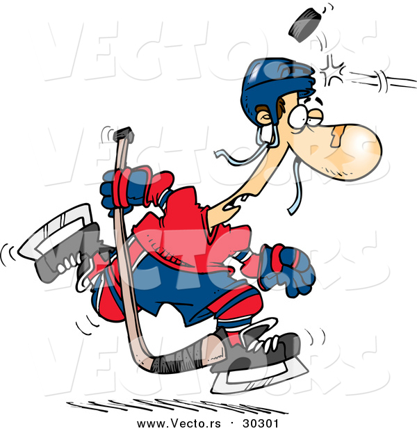 Vector of a Cartoon Puck Hitting a Hockey Player on the Head