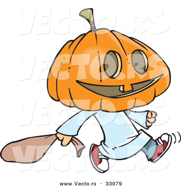 Vector of a Cartoon Pumpkin Head Kid Trick-Or-Treater on Halloween