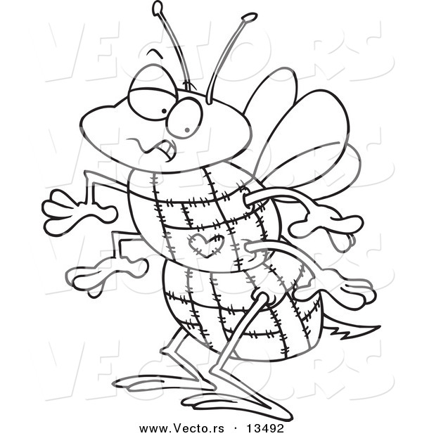 : Vector of a Cartoon Quilted Bee - Coloring Page Outline