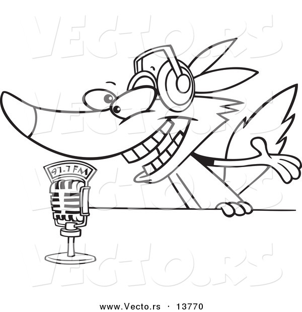 Vector of a Cartoon Radio Wolf Talking into a Microphone - Coloring Page Outline