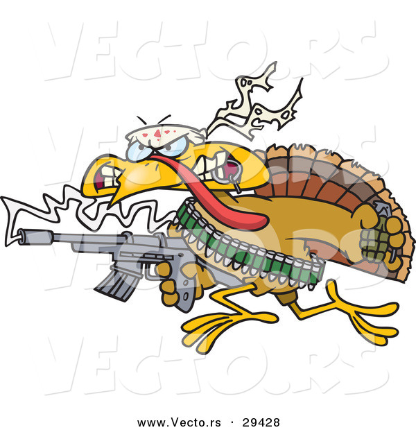 Vector of a Cartoon Rambo Turkey with a Machine Gun and Lots of Ammo