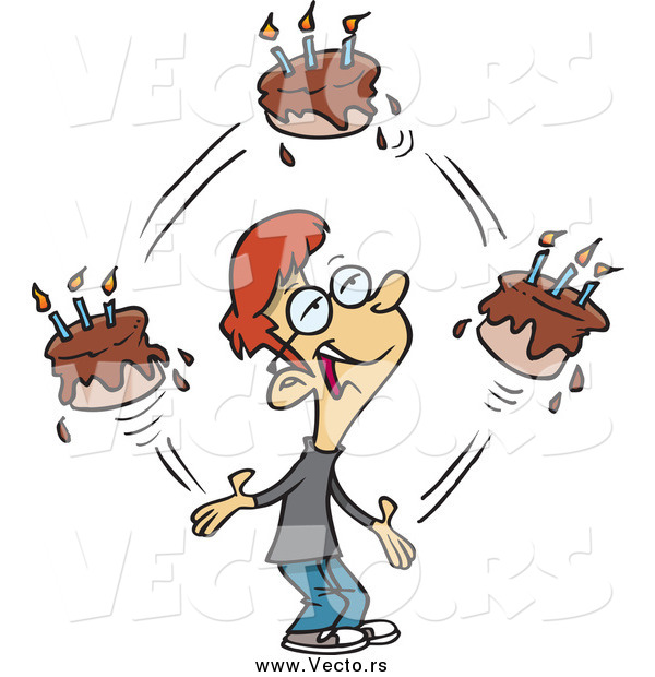 Vector of a Cartoon Red Haired Caucasian Birthday Boy Juggling Cakes