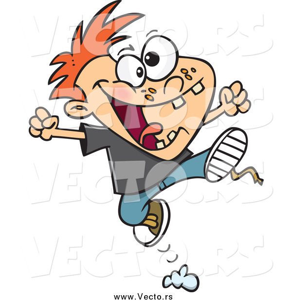 Vector of a Cartoon Red Haired Rambunctious Boy Jumping
