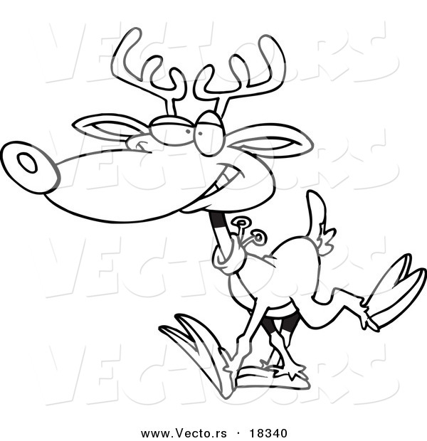 Vector of a Cartoon Reindeer Walking - Outlined Coloring Page
