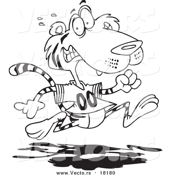 Vector of a Cartoon Retreating Tiger - Outlined Coloring Page
