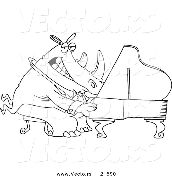 Vector of a Cartoon Rhino Pianist - Outlined Coloring Page