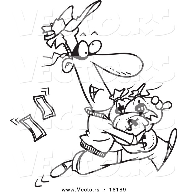 Vector of a Cartoon Robber Getting Away with Bags of Cash - Outlined Coloring Page Drawing