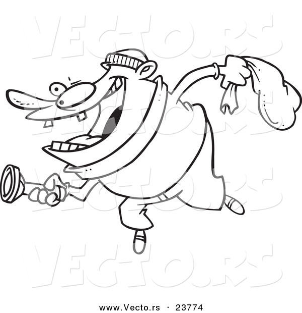 Vector of a Cartoon Robber Using a Flashlight - Coloring Page Outline