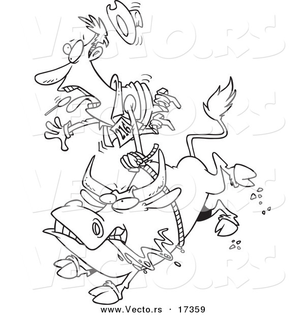 Vector of a Cartoon Rodeo Bull and Cowboy - Coloring Page Outline