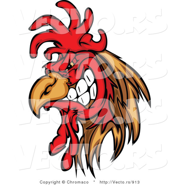 Vector of a Cartoon Rooster Mascot Gritting Teeth