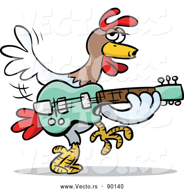 : Vector of a Cartoon Rooster Playing Guitar