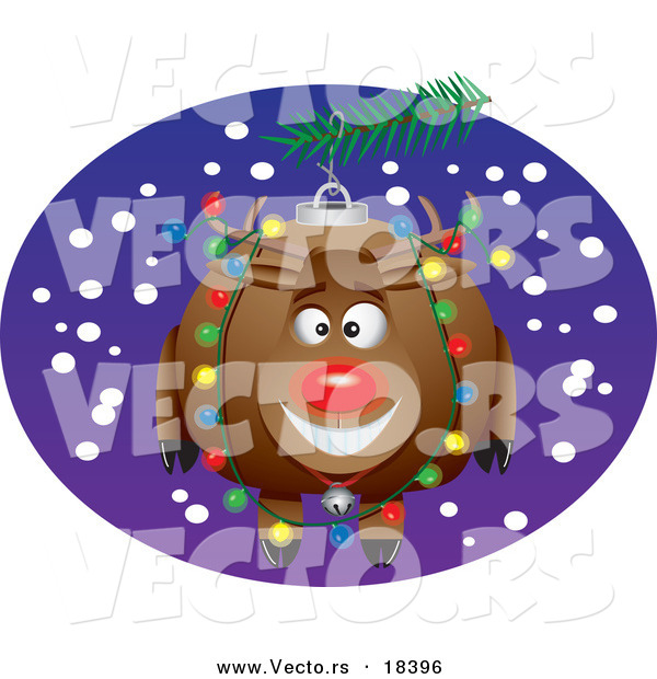 Vector of a Cartoon Rudolph Bauble - Outlined Coloring Page