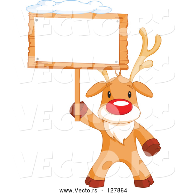 Vector of a Cartoon Rudolph the Red Nosed Reindeer Holding a Blank Sign Board with Snow on Top