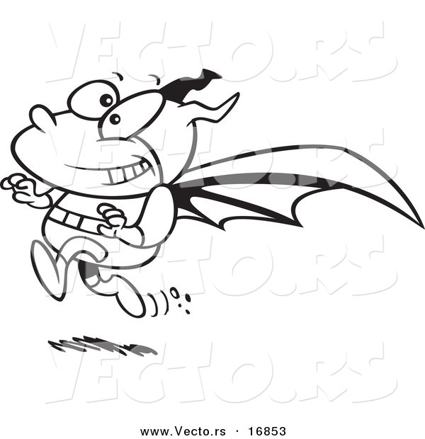 Vector of a Cartoon Running Bat Boy - Coloring Page Outline