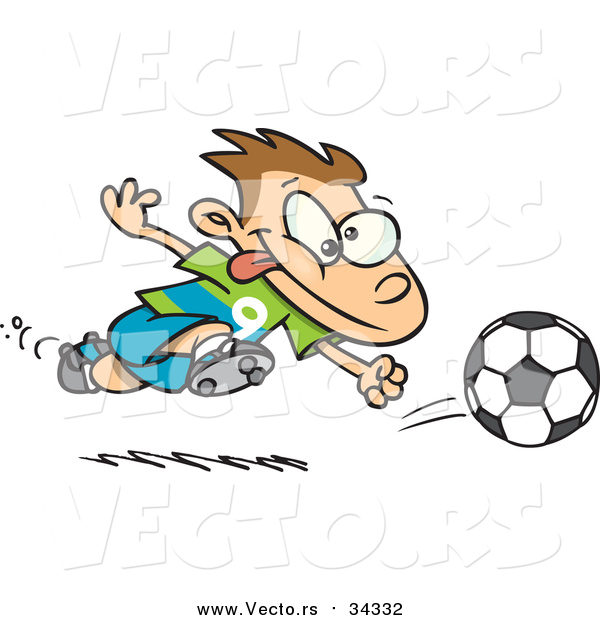 : Vector of a Cartoon Running Caucasian Soccer Boy