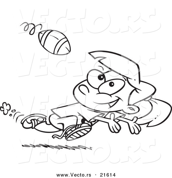 Vector of a Cartoon Running Girl Catching a Football - Outlined Coloring Page