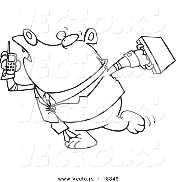 Vector of a Cartoon Rushed Business Bear - Outlined Coloring Page