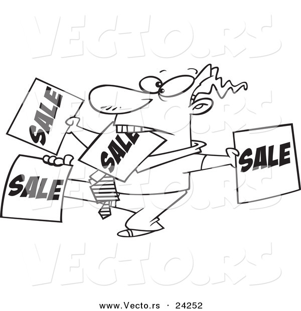 Vector of a Cartoon Salesman Holding up Many Signs - Outlined Coloring Page