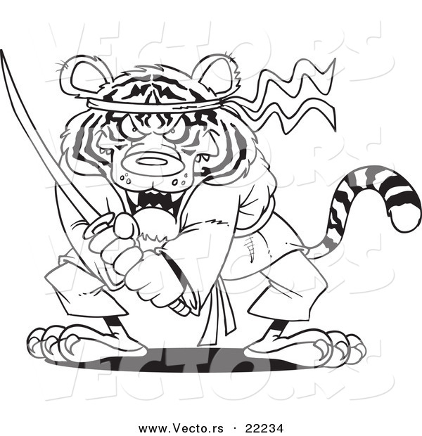 Vector of a Cartoon Samurai Tiger with a Sword - Outlined Coloring Page