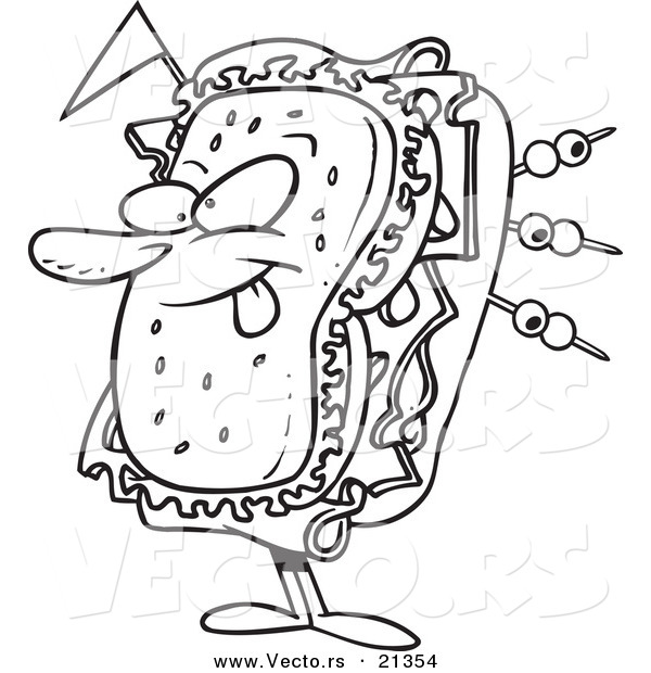 Vector of a Cartoon Sandwich Character - Outlined Coloring Page
