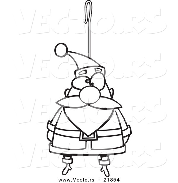 Vector of a Cartoon Santa Ornament - Outlined Coloring Page