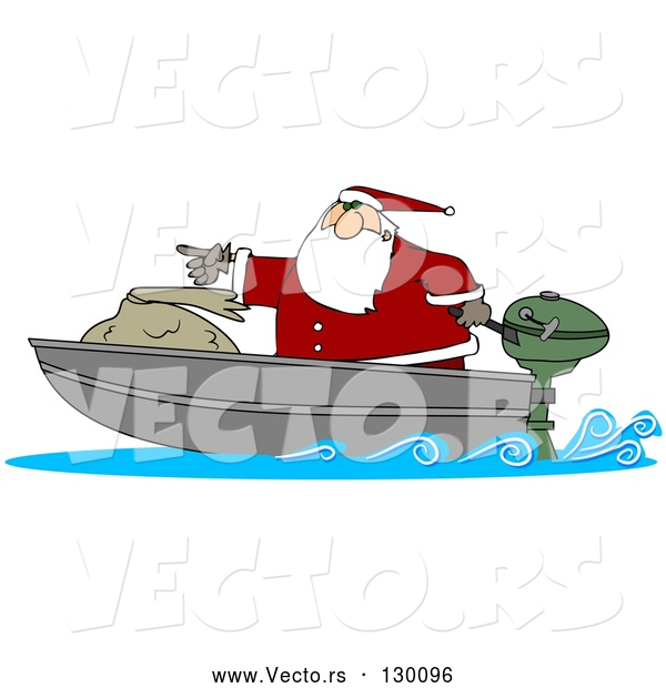 Vector of a Cartoon Santa Pointing Forward on Small Boad with Big Toy Sack