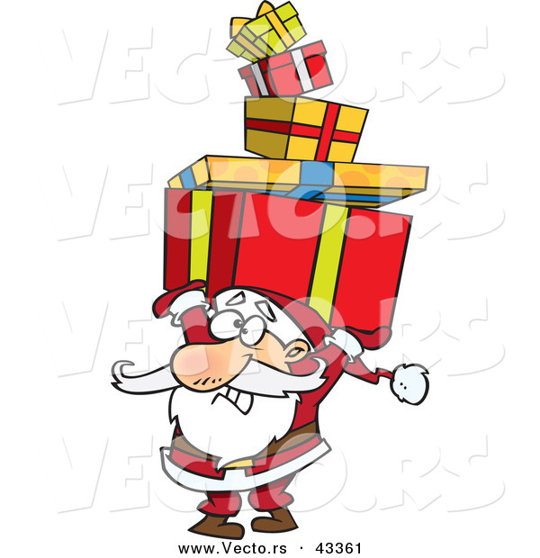 : Vector of a Cartoon Santa Struggling to Carry a Stack of Christmas Presents over His Head