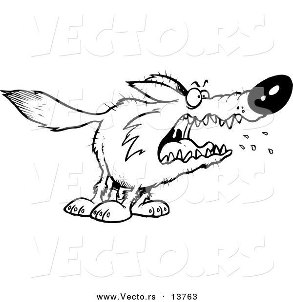 Vector of a Cartoon Scary Wolf - Coloring Page Outline