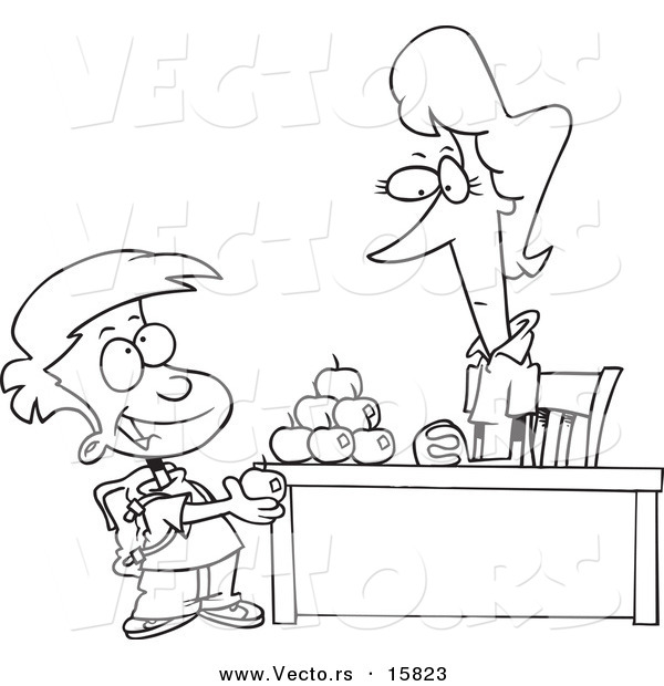 Vector of a Cartoon School Boy Adding to the Pyramid of Apples on His Teacher's Desk - Outlined Coloring Page Drawing