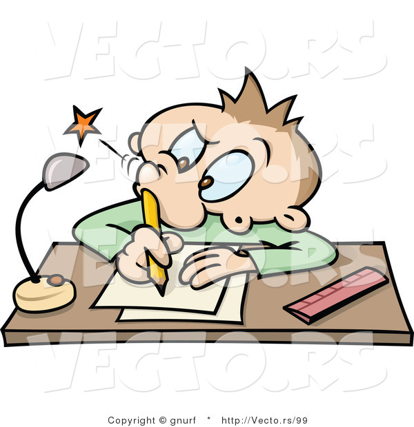 Vector of a Cartoon School Boy Poking His Nostril with a Pencil While Writing at a Desk