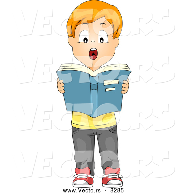Vector of a Cartoon School Boy Reading Aloud in Front of His Class