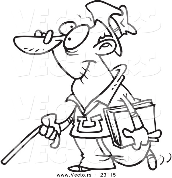 Vector of a Cartoon Senior College Student - Coloring Page Outline