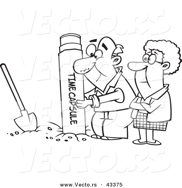 Vector of a Cartoon Senior Couple Digging up a Time Capsule - Coloring Page Outline