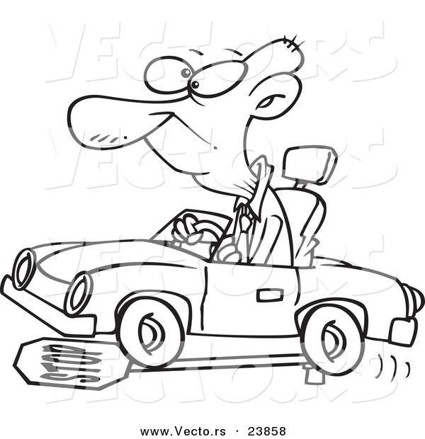 Vector of a Cartoon Senior Man Running over a Stop Sign - Coloring Page Outline