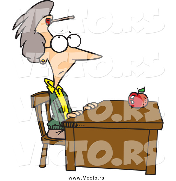 Vector of a Cartoon Senior White Female Teacher Sitting at Her Desk with a Dart on Her Forehead