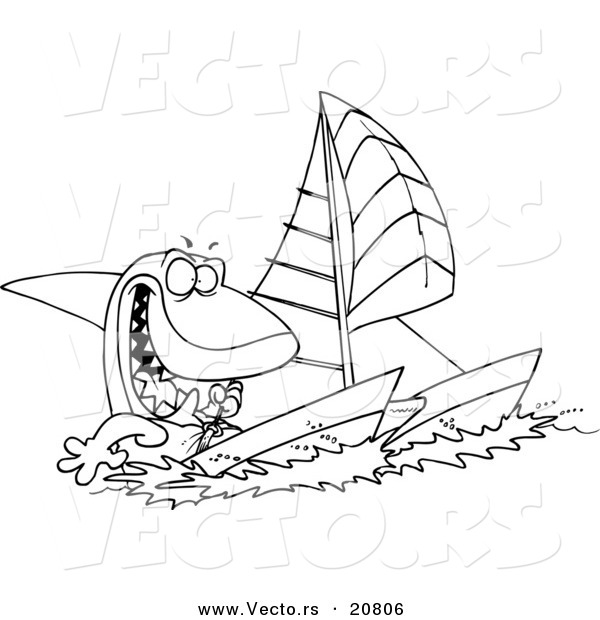 Vector of a Cartoon Shark Sailing a Catamaran - Coloring Page Outline
