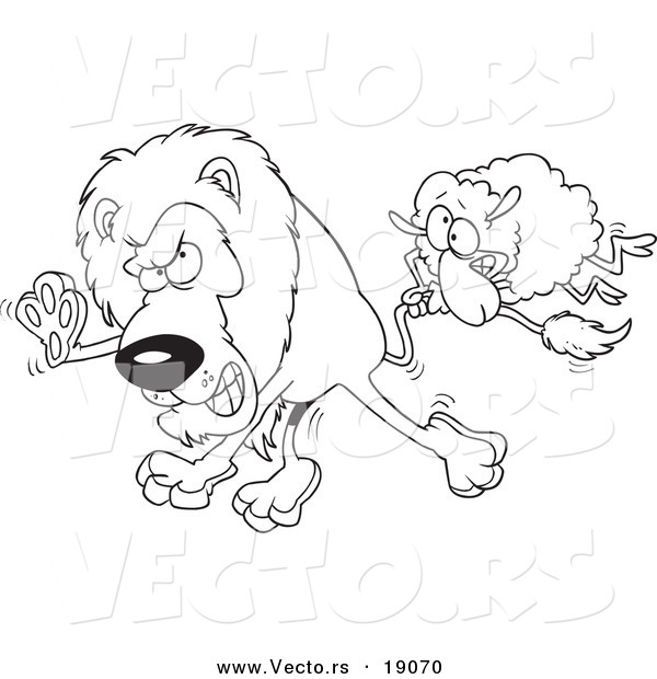 Vector of a Cartoon Sheep Attacking a Lion - Outlined Coloring Page