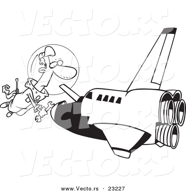 Vector of a Cartoon Shuttle Mechanic Working - Coloring Page Outline