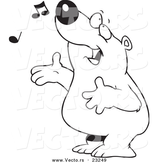 : Vector of a Cartoon Singing Bear - Coloring Page Outline
