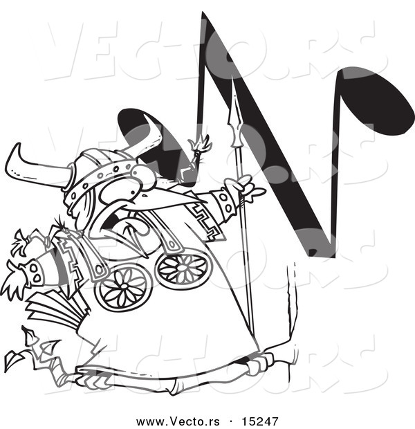 Vector of a Cartoon Singing Viking Bird with an N Music Note - Coloring Page Outline
