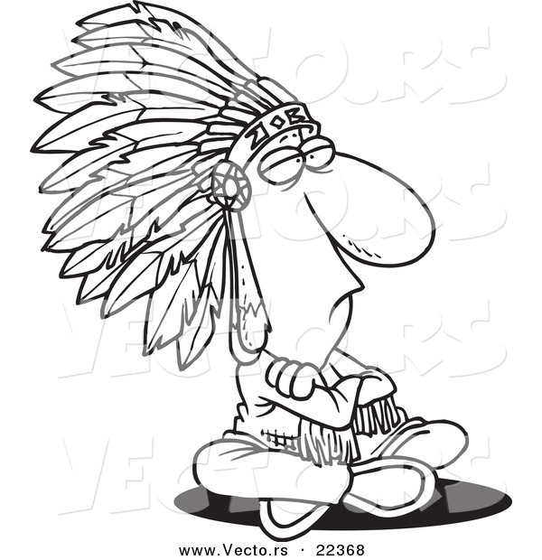 Vector of a Cartoon Sitting Chief - Coloring Page Outline