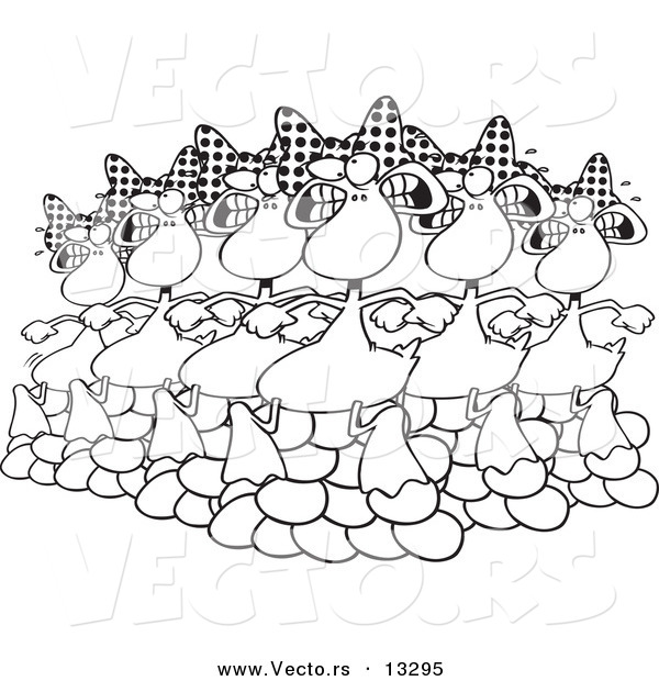 Vector of a Cartoon Six Geese a Laying - Coloring Page Outline